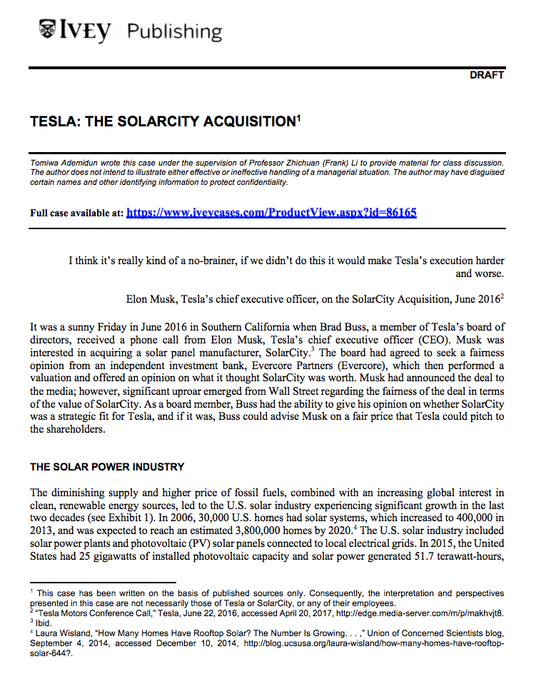 Tesla: The Solar City Acquisition